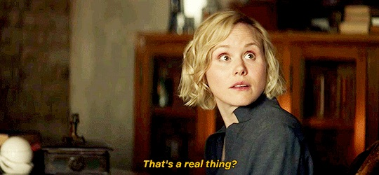 Image of Alison Pill as Dr. Agnes Juroti from Star Trek: Picard looking surprised and asking 'That's a real thing?'